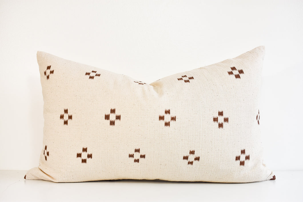 Hmong Block Print Lumbar Pillow - Earth