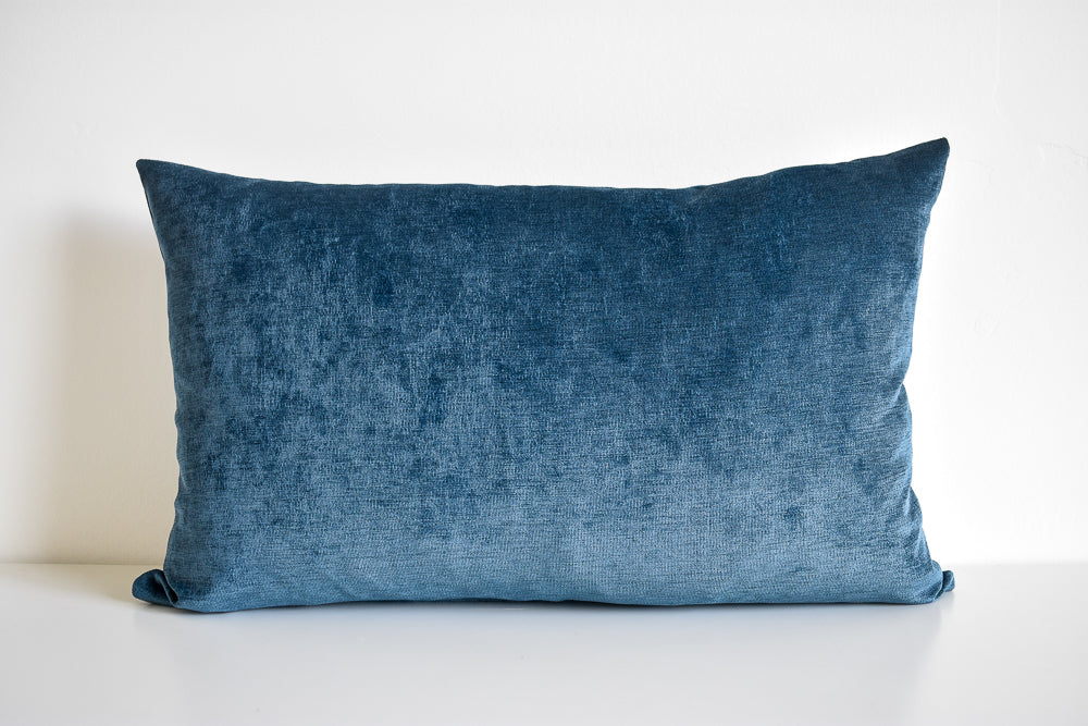 Velvet Pillow - Slate Blue Lumbar