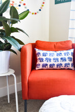 Watercolor Elephant Lumbar Pillow - Indigo Blue