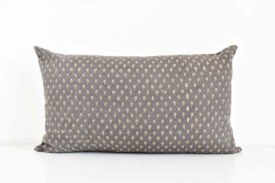 Hmong Block Print Lumbar Pillow - Gray