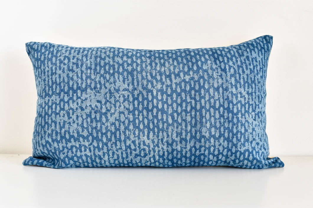 Hmong Block Print Lumbar Pillow - Blue