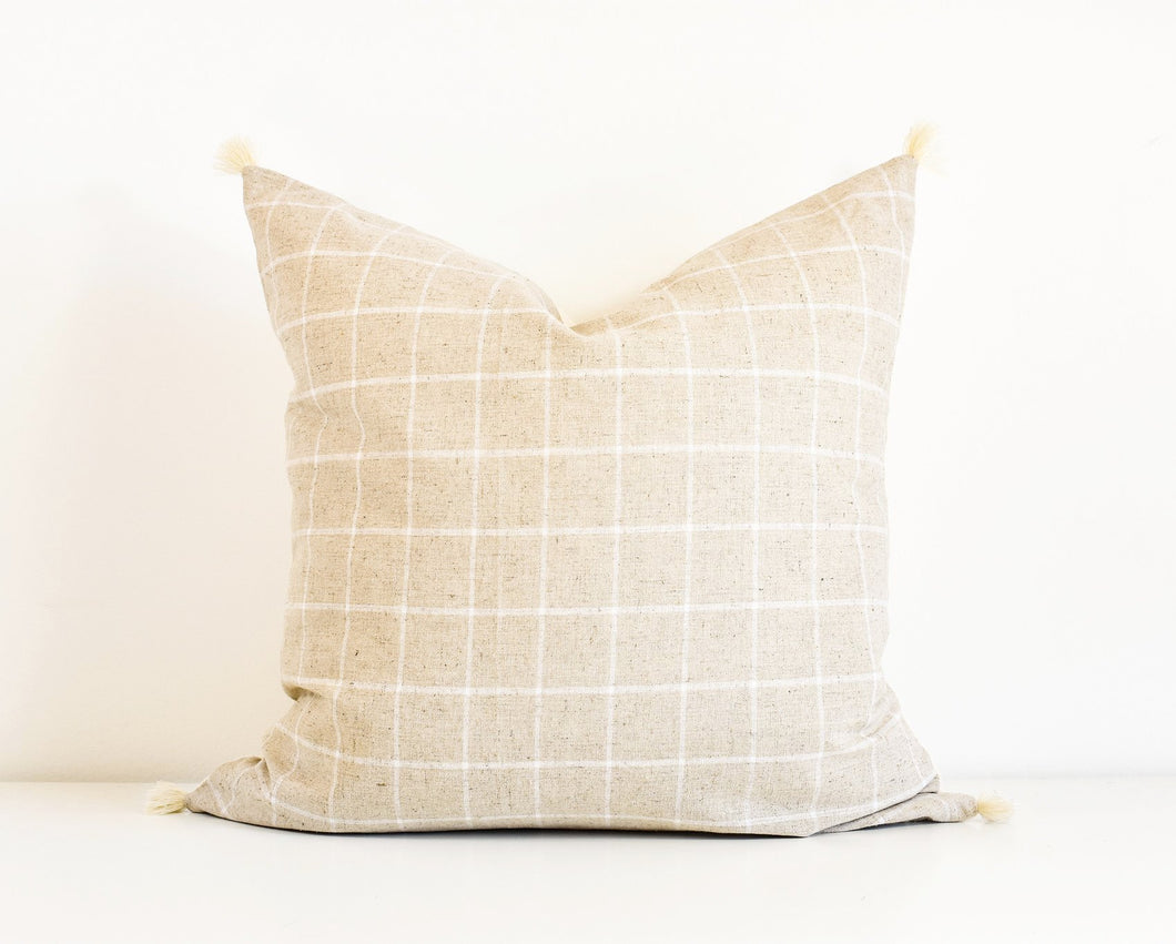 Window Pane Tassel Pillow - Oatmeal