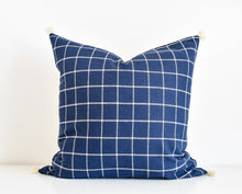 Window Pane Tassel Pillow - Indigo
