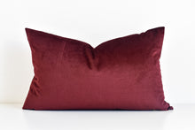 Velvet Lumbar Pillow - Burgundy