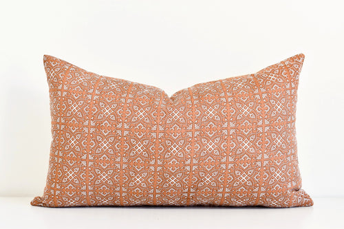 Hmong Block Print Pillow - Terra Cotta