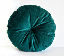 Velvet Round Pillow - Forest Green