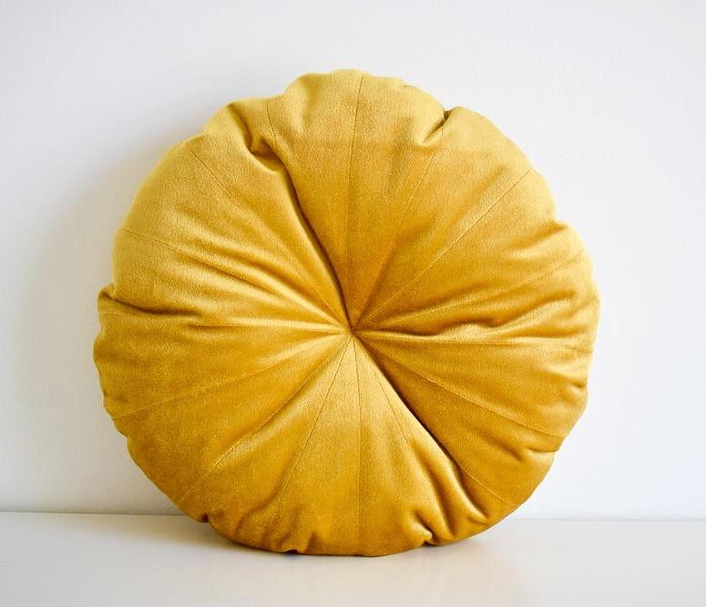 Velvet Round Pillow - Gold