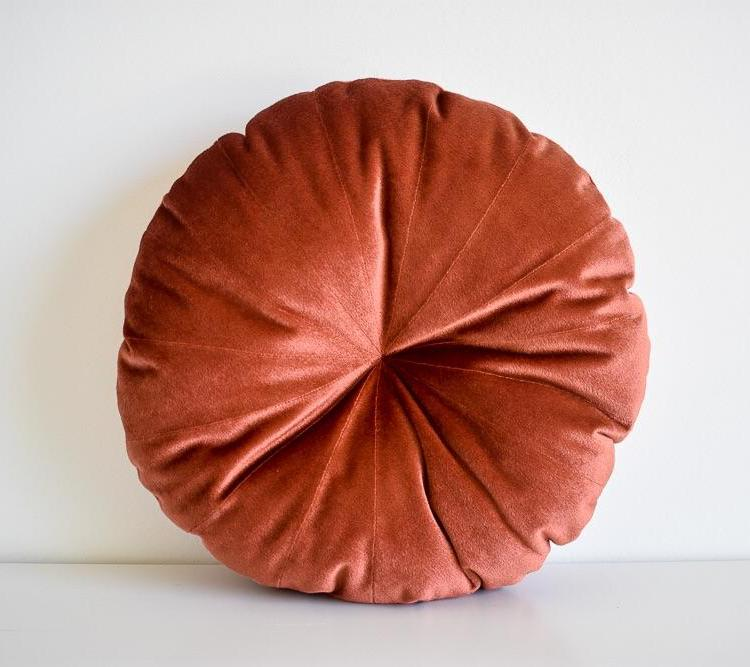 Velvet Round Pillow - Rust