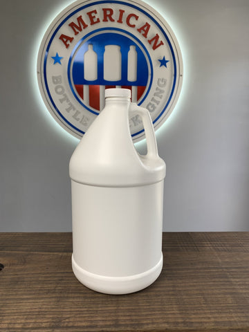 1 Gallon White HDPE Industrial Round 38-400 finish 59/bag and 7 bags per pallet, 26 pallets per truck (10.738 per TL) - Rock Bottom Bottles / Packaging Company LLC