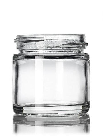 1 oz clear glass straight-sided round jar with 43-400 neck finish CASED 160 - Rock Bottom Bottles / Packaging Company LLC