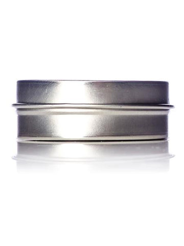 1 oz silver steel flat tin with slip cover lid - CASED 200 - Rock Bottom Bottles / Packaging Company LLC