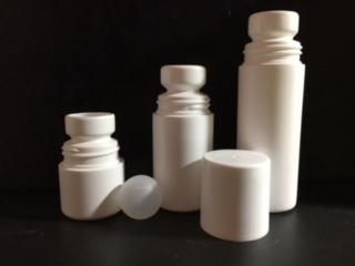 1 oz. White HDPE Plastic Roll On Bottle (Not Refillable) Includes: Bottle, Cap and Ball - Cased 1400 - Rock Bottom Bottles / Packaging Company LLC