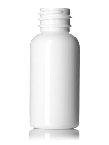 1 oz White PET Boston Round Bottle with 20-410 neck finish with Black Cap and Heat Induction Liner - Rock Bottom Bottles / Packaging Company LLC