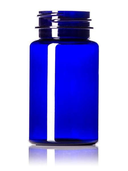 100 cc cobalt blue PET pill packer bottle with 38-400 neck finish CASED 580 - Rock Bottom Bottles / Packaging Company LLC
