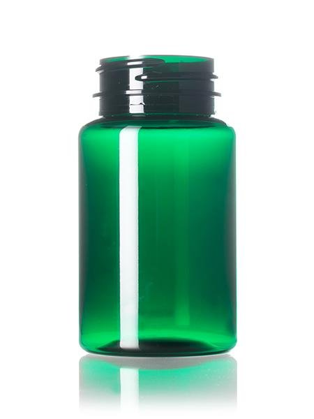 100 cc green PET pill packer bottle with 38-400 neck finish - CASED 580 - Rock Bottom Bottles / Packaging Company LLC