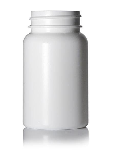 100 cc white HDPE pill packer bottle with 38-400 neck finish - CASED 640 - Rock Bottom Bottles / Packaging Company LLC