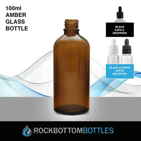 100ml Amber Glass Bottle - Rock Bottom Bottles / Packaging Company LLC