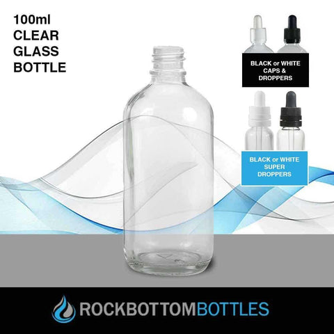 100ml Clear Glass Bottle - Rock Bottom Bottles / Packaging Company LLC
