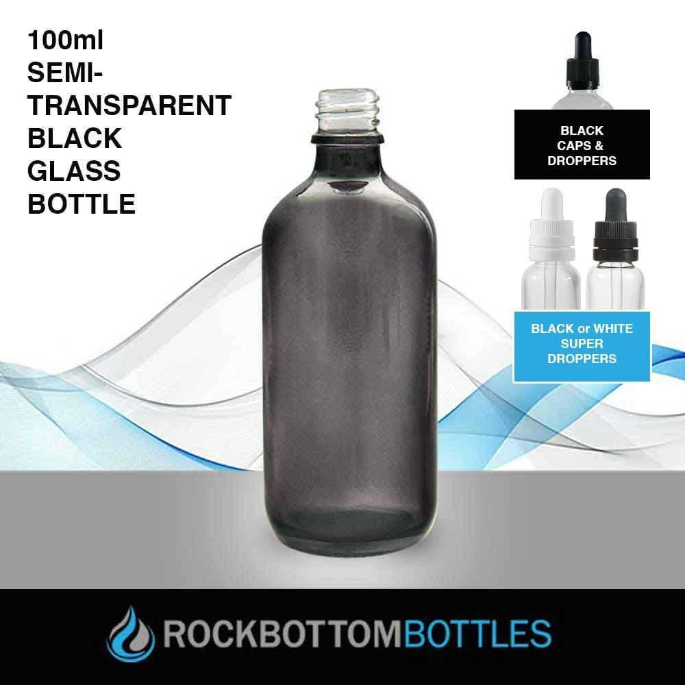 100ml Semi-Transparent Black Glass Bottle - Rock Bottom Bottles / Packaging Company LLC