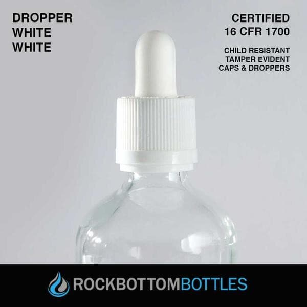 100ml White Droppers - Rock Bottom Bottles / Packaging Company LLC