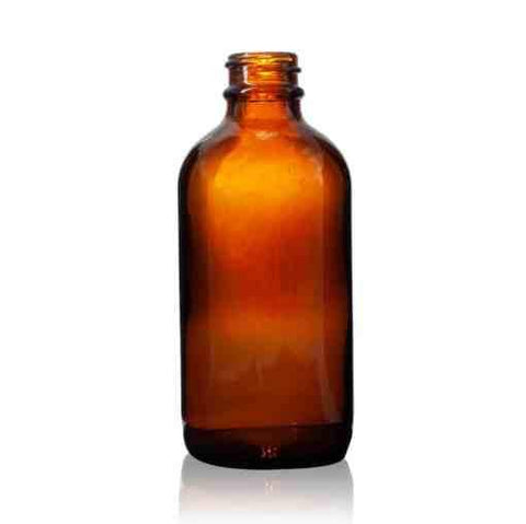 120ml - 4 oz - Amber Boston Round Glass Bottle with 22-400 Neck Finish - CASED 128 - Rock Bottom Bottles / Packaging Company LLC