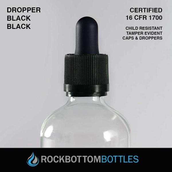 120ml Black Droppers - Rock Bottom Bottles / Packaging Company LLC