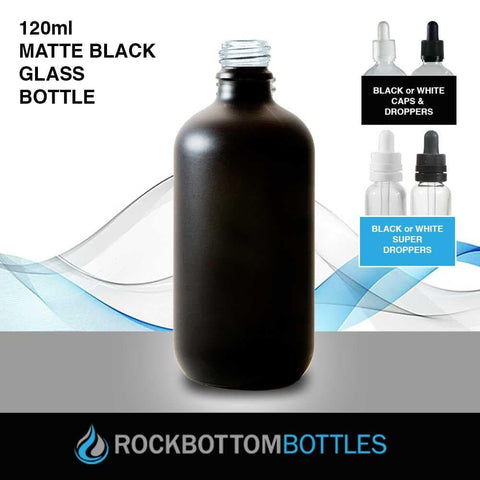 120ml Matte Black Glass Bottle - Rock Bottom Bottles / Packaging Company LLC