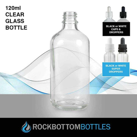 120ml Clear Glass Bottle - Rock Bottom Bottles / Packaging Company LLC