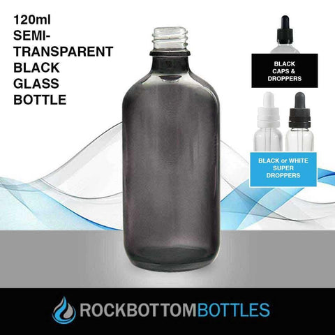 120ml Semi-Transparent Black Glass Bottle - Rock Bottom Bottles / Packaging Company LLC