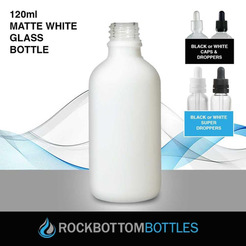 120ml White Matte Glass Bottle - Rock Bottom Bottles / Packaging Company LLC