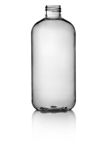 12oz Clear 24/410 Neck Boston Round Bottle - Cased 190 - Rock Bottom Bottles / Packaging Company LLC