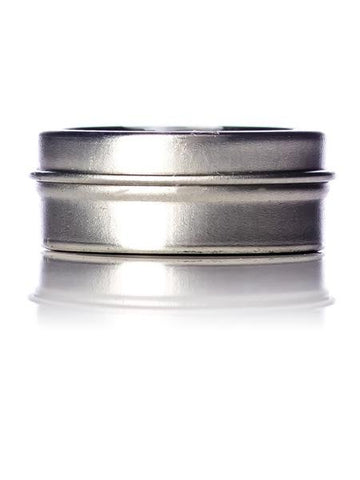1/4 oz silver steel flat tin with slip cover lid - CASED 300 - Rock Bottom Bottles / Packaging Company LLC