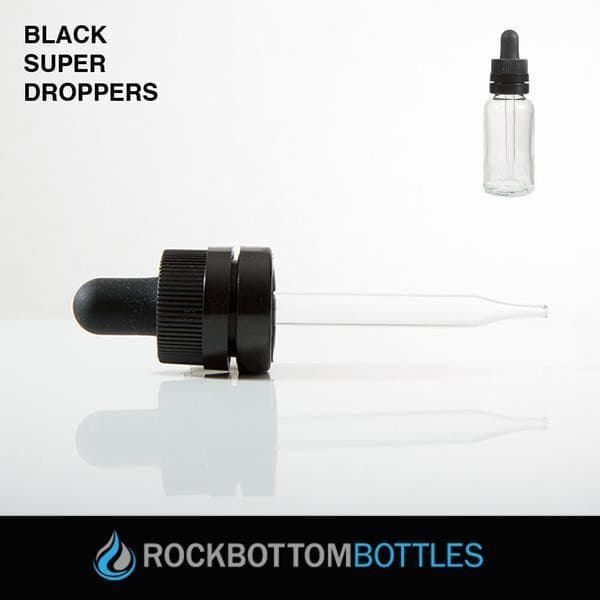 15ml Black Super Droppers Graduated - Rock Bottom Bottles / Packaging Company LLC