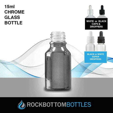 15ml Chrome Glass Bottle - Rock Bottom Bottles / Packaging Company LLC