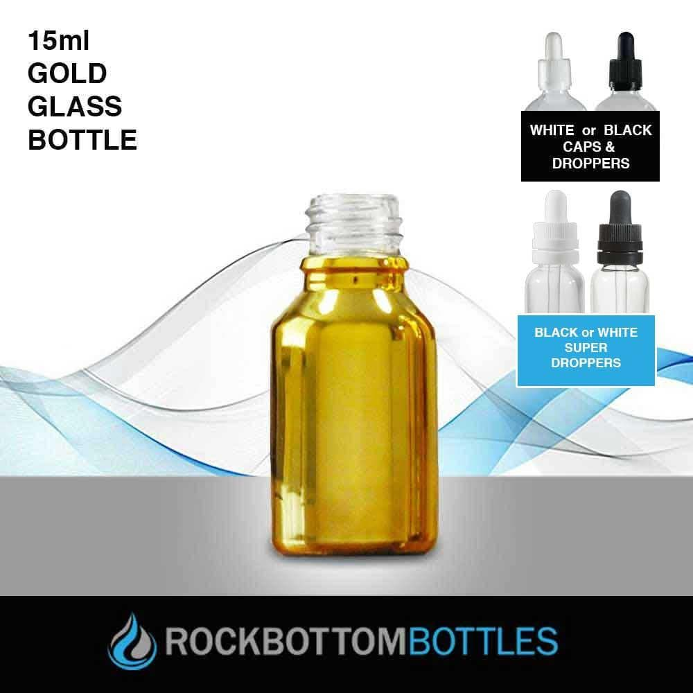 15ml Gold Glass Bottle - Rock Bottom Bottles / Packaging Company LLC