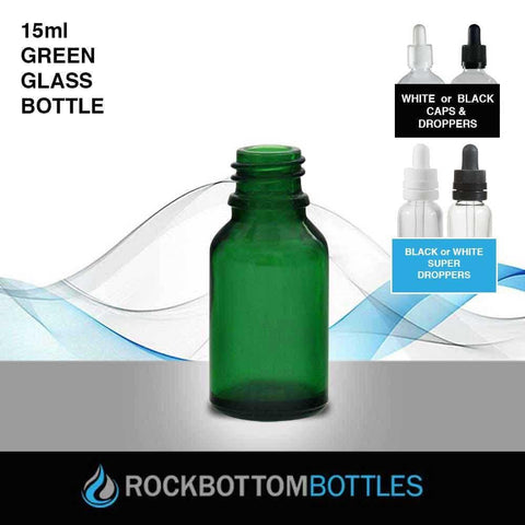 15ml Green Glass Bottle - Rock Bottom Bottles / Packaging Company LLC