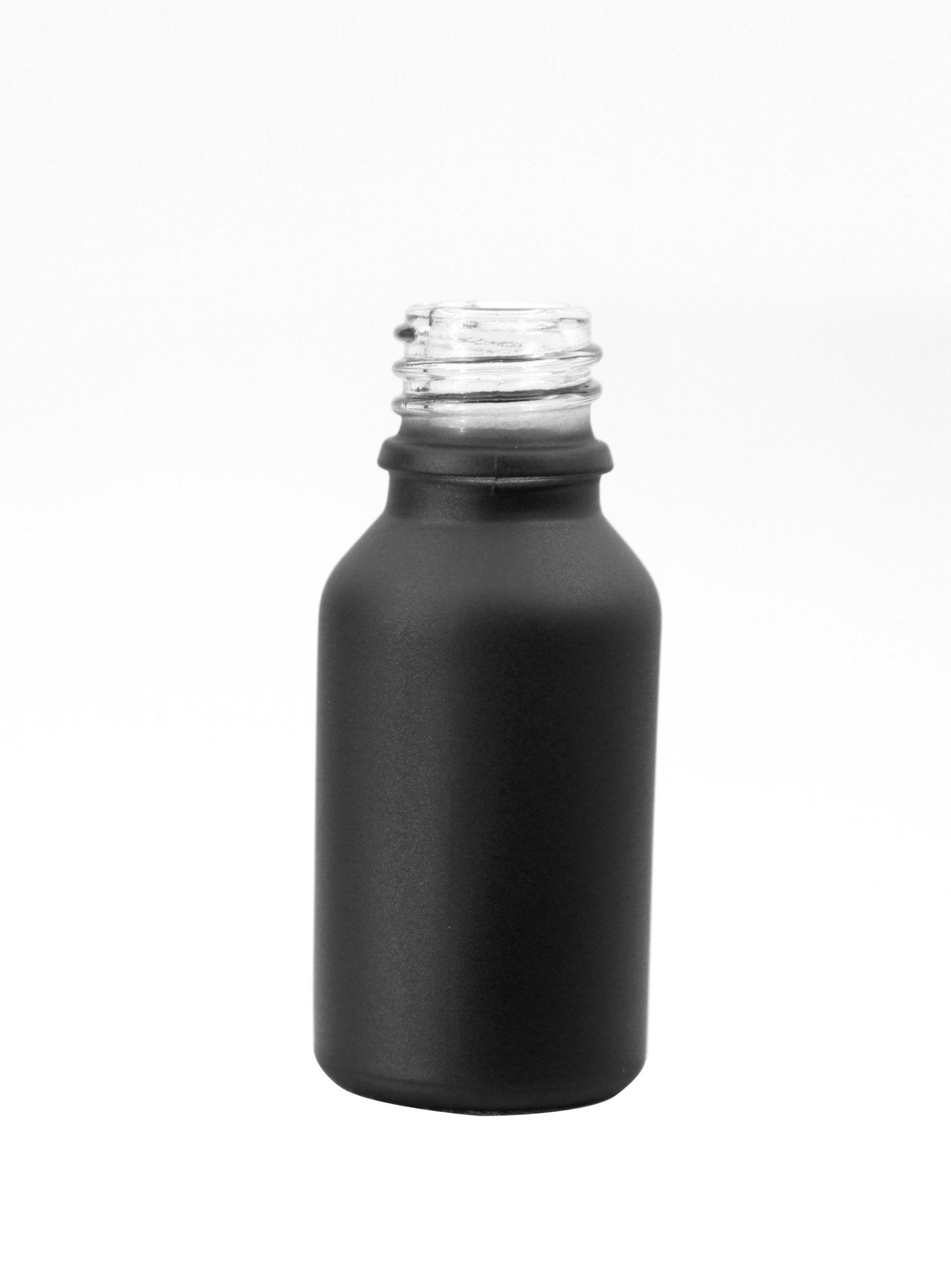 15ml Matte Black Glass Bottle 18/415 neck - Rock Bottom Bottles / Packaging Company LLC