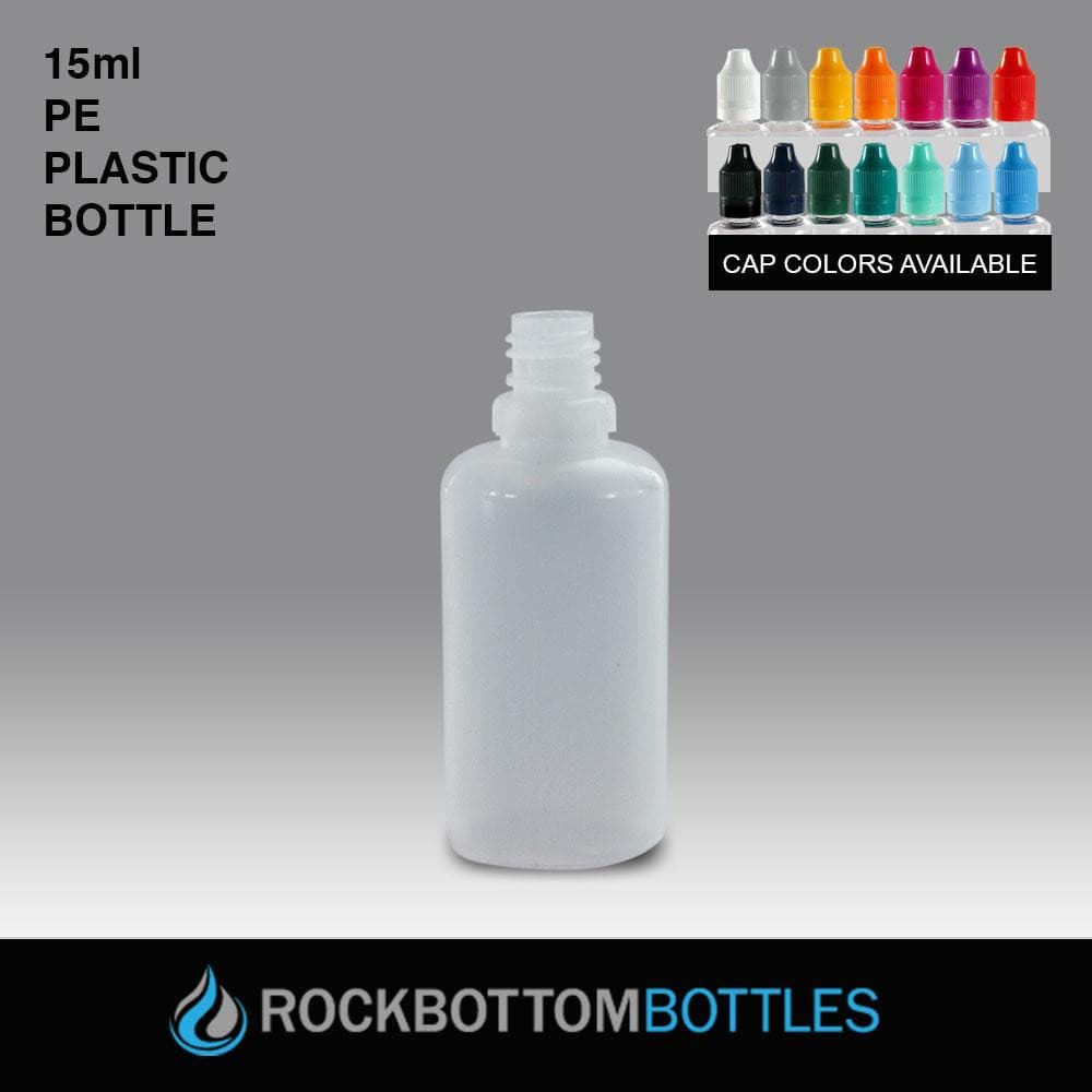 15mL - PE Plastic Bottle - Rock Bottom Bottles / Packaging Company LLC