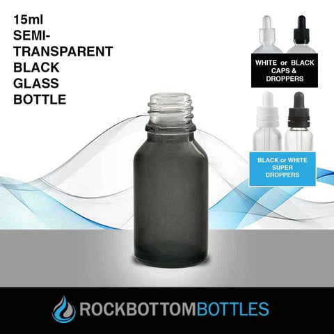 15ml Semi-Transparent Black Glass Bottle - Rock Bottom Bottles / Packaging Company LLC