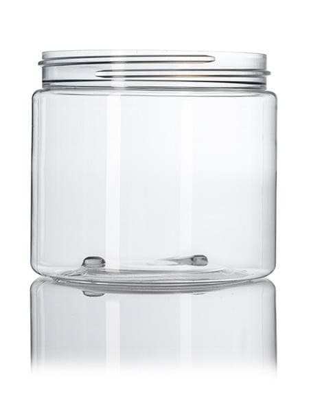 16 oz clear PET single wall jar with 89-400 neck finish CASED 245 - Rock Bottom Bottles / Packaging Company LLC