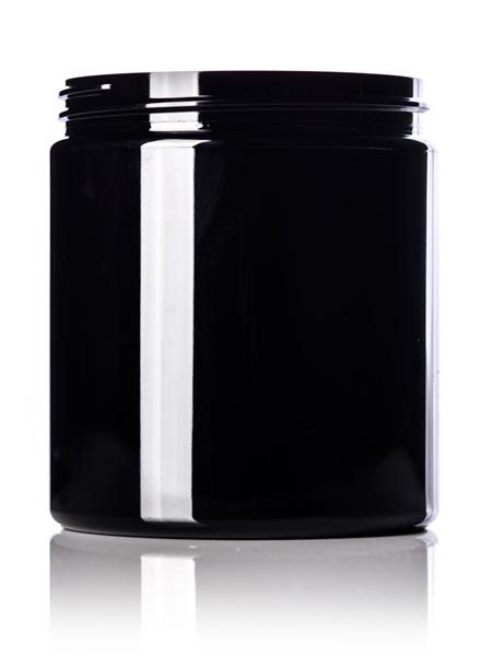 19 oz black PET single wall jar with 89-400 neck finish - CASED 175 - Rock Bottom Bottles / Packaging Company LLC