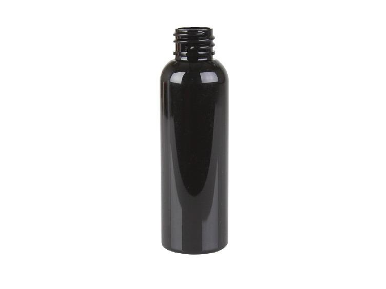 2 oz Black PET cosmo round bottle with 20-410 neck finish - CASED 1230 - Rock Bottom Bottles / Packaging Company LLC