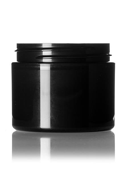 2 oz Black PP double wall round base jar with 58-400 neck finish - CASED 660 - Rock Bottom Bottles / Packaging Company LLC