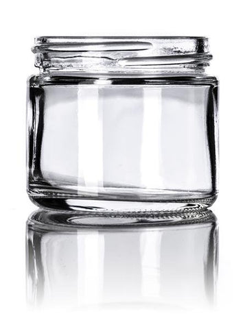 2 oz clear glass straight-sided round jar with 53-400 neck finish - CASED 168 - Rock Bottom Bottles / Packaging Company LLC