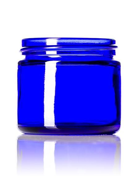 2 oz cobalt blue glass straight-sided round jar with 53-400 neck finish - CASED 168 - Rock Bottom Bottles / Packaging Company LLC