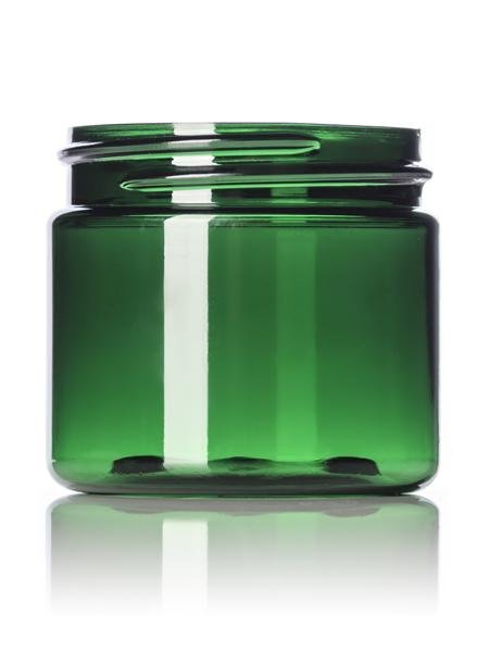 2 oz green PET single wall jar with 48-400 neck finish - CASED 736 - Rock Bottom Bottles / Packaging Company LLC