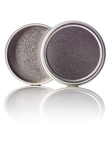 2 oz silver steel flat tin with slip cover lid - CASED 432 - Rock Bottom Bottles / Packaging Company LLC