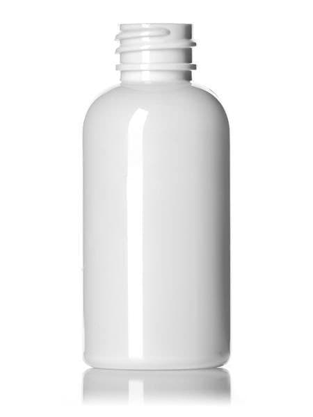 2 oz White PET Boston Round 20-410 Bottle 1050 per case - Rock Bottom Bottles / Packaging Company LLC
