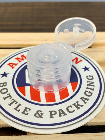 20-410 Clear Fine Ribbed Flip Top Caps - Cased 5000 - Rock Bottom Bottles / Packaging Company LLC