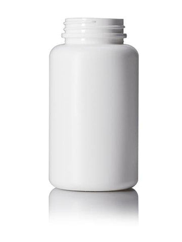 250cc white HDPE pill packer bottle with 45-400 neck finish CASED 385 - Rock Bottom Bottles / Packaging Company LLC